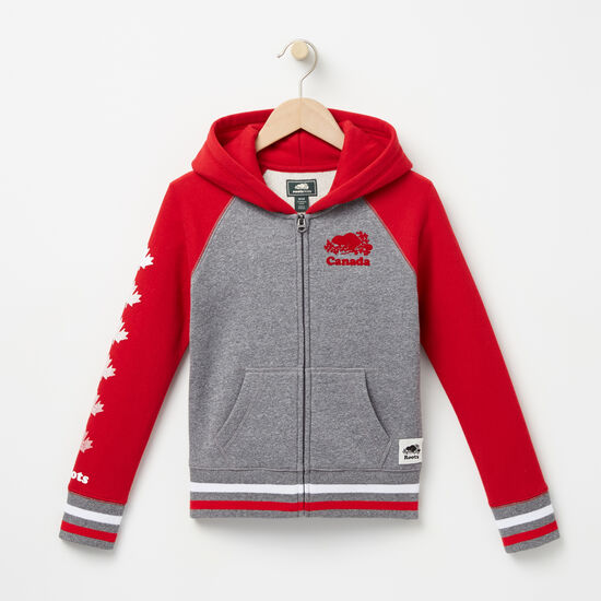 Roots-Kids Features-Girls Cooper Canada Full Zip Hoody-Sage Red-A