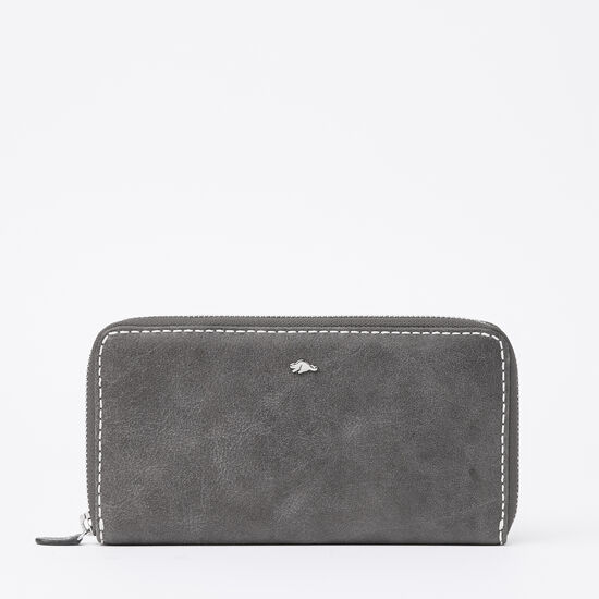 Roots-Leather Wallets-Zip Around Wallet Tribe-Charcoal-A
