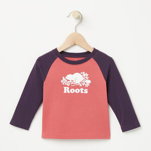 Roots-Sale Kids-Baby Contrast Cooper Beaver T-shirt-Baroque Rose-A
