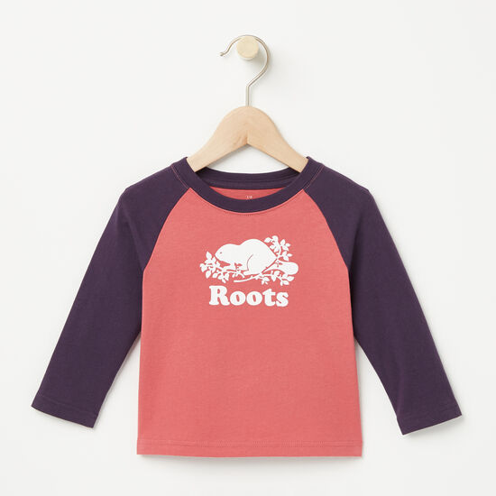 Roots-Kids T-shirts-Baby Contrast Cooper Beaver T-shirt-Baroque Rose-A