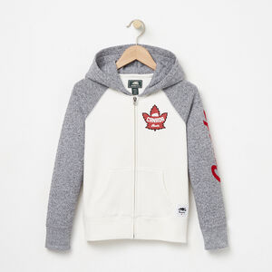 Roots-Kids Tops-Girls Heritage Canada Full Zip Hoody-Pristine White-A