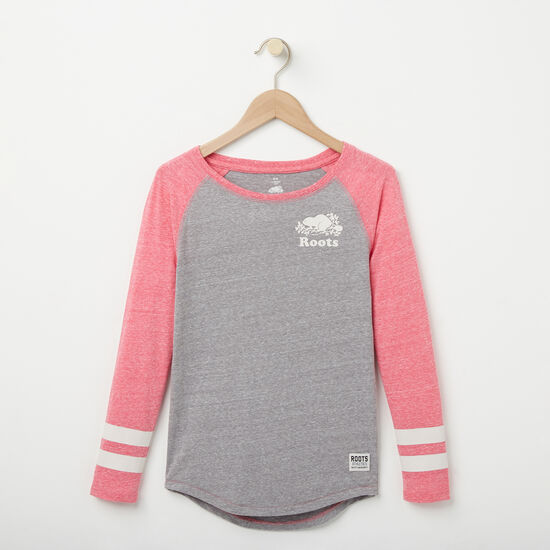 Roots-Kids New Arrivals-Girls Celine Baseball Top-Grey Mix-A