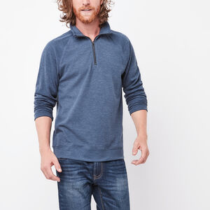 Roots-Men Sweaters & Cardigans-Revelstoke 1/4 Zip-Insignia Blue Mix-A