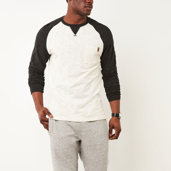 Roots-Men New Arrivals-Baldwin Peppered Crew-Birch White-A