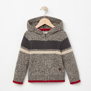 Roots-Kids Tops-Toddler Roots Cabin Full Zip Sweater-Grey Oat Mix-A