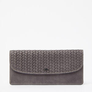 Roots-Leather Woven Tribe Leather-Slim Curve Wallet Woven Tribe-Charcoal-A