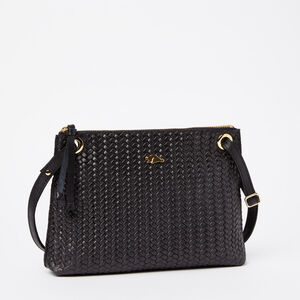 Roots-Leather Woven Tribe Leather-Edie Bag Woven Tribe-Black-A