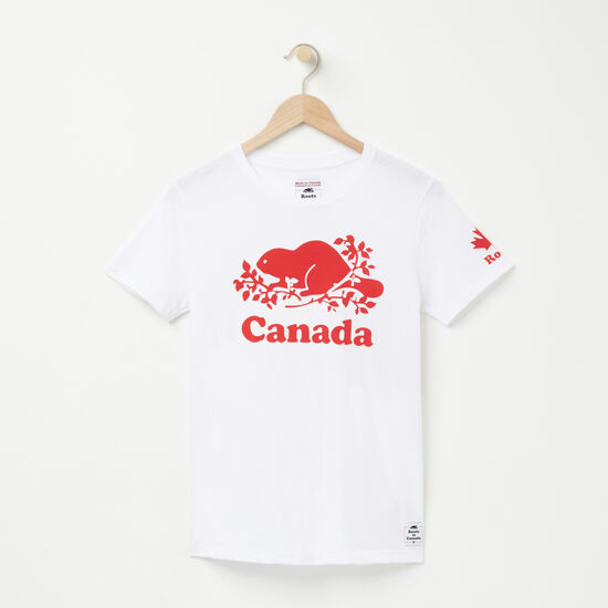Roots-Leather Women's-Womens Cooper Canada T-shirt-White-A