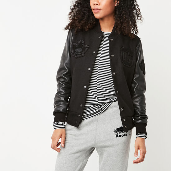 Roots-Leather Women's Leather Jackets-Womens Gretzky Jacket Stealth-Black-A
