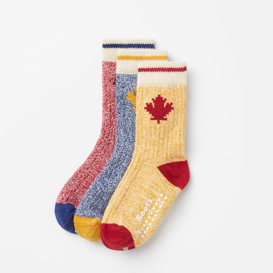 Roots-Kids Accessories-Toddler Maple Cabin Sock 3 Pack-Multi-A