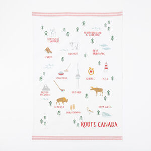 Roots-Women General Store-Vintage Canada Tea Towel-Lodge Red-A