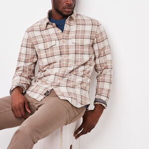 Roots-Men Shirts-Nanaimo Light Weight Flannel-Bison Mix-A