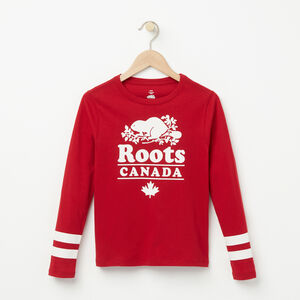 Roots-Kids New Arrivals-Girls Holiday Sport T-shirt-Lodge Red-A