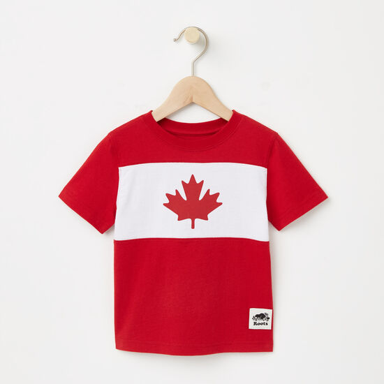 Roots-Kids T-shirts-Toddler Blazon Maple T-shirt-Sage Red-A