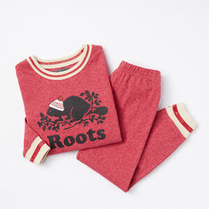 Roots-Kids Pajamas-Toddler Roots Pepper PJ Set-Cherry Pink Pepper-A