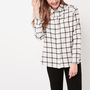Roots-Women Shirts-Nora Flannel Shirt-Birch White-A