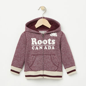 Roots-Kids Baby Girl-Baby Roots Cabin Full Zip Hoody-Cabernet Pepper-A