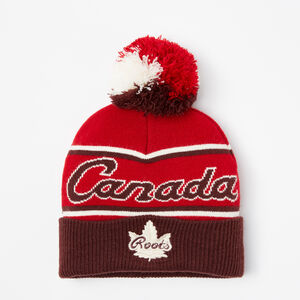 Roots-Kids Accessories-Kids Canada Heritage Pom Pom Toque-Maple Red-A
