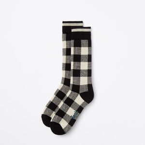 Roots-Women Socks-Womens Buffalo Check Sock-Black-A