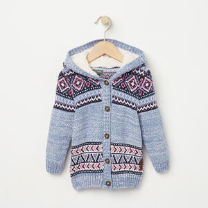Roots-Kids Tops-Baby Fair Isle Hooded Sweater-Infinity-A