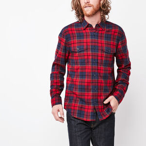 Roots-Men Shirts-Nanaimo Light Weight Flannel-Lodge Red-A