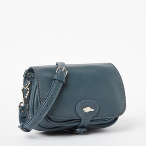 Roots-Women Mini Leather Handbags-Kays Bag Bridle-Steel Blue-A