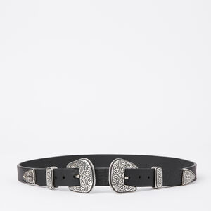 Roots-Women Belts-Double Western Buckle Belt-Black-A