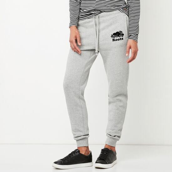 Roots-Women Slim Sweatpants-Original Slim Cuff Sweatpant-Grey Mix-A