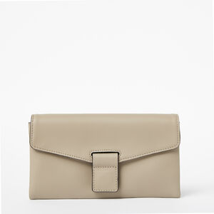 Roots-Women Wallets-Chloe Clutch Bridle-Pearl Grey-A