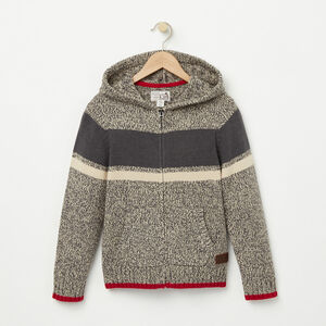 Roots-Kids Boys-Boys Roots Cabin Full Zip Sweater-Grey Oat Mix-A