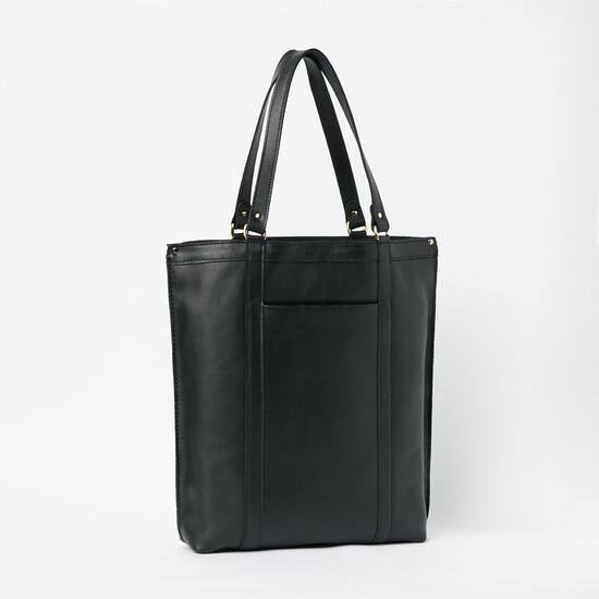 Roots-Leather Handbags-Market Tote Box-Black-A