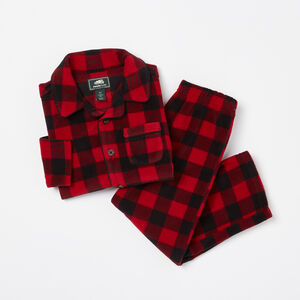 Roots-Kids Pajamas-Toddler Micorfleece Button Up PJ Set-Lodge Red-A
