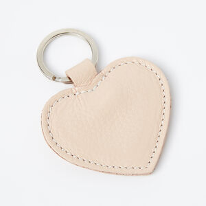 Roots-Women Leather Accessories-Heart Key Ring Prince-Blush-A