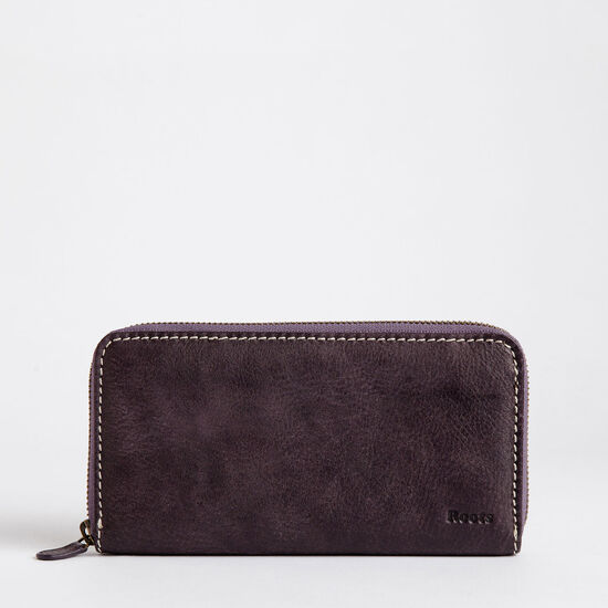 Roots-Leather Women's Wallets-Zip Around Clutch Tribe-Wineberry-A