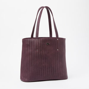 Roots-Leather Woven Tribe Leather-Downtown Zip Tote Woven Tribe-Deep Purple-A