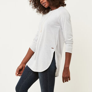 Roots-Women Long Sleeve Tops-New Jules T-shirt-Snowy Ice Mix-A