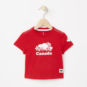 Roots-Kids Canada Collection-Baby Cooper Canada T-shirt-Sage Red-A