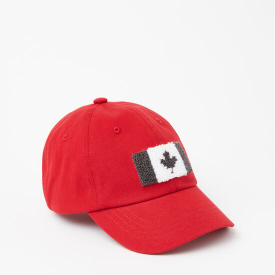 Roots-Kids Accessories-Kids Chenille Flag Baseball Cap-Sage Red-A
