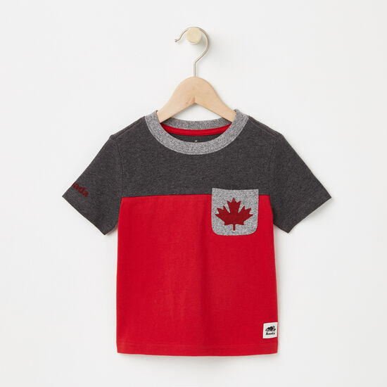 Roots-Kids T-shirts-Toddler Canada Blocked Pocket Top-Charcoal Mix-A