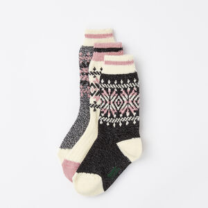 Roots-Kids Accessories-Girls Ashli Cabin Sock 3 pack-Black Mix-A