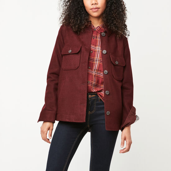 Roots-Women New Arrivals-Bordeau Wool Shacket-Tibetan Red-A