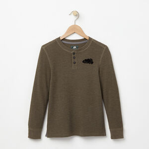 Roots-Sale Kids-Boys Killarney Waffle Henley-Olive Night Grn Mix-A
