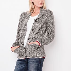 Roots-Women New Arrivals-Cotton Cabin Shawl Sweater-Grey Oat Mix-A