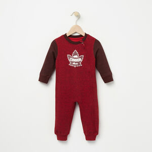Roots-Kids Baby-Baby Heritage Canada Romper-Sage Red Pepper-A