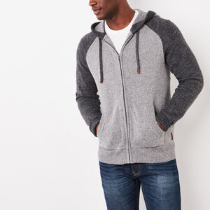 Roots-Men Sweaters & Cardigans-Montclair Sweater Hoody-Medium Grey Mix-A