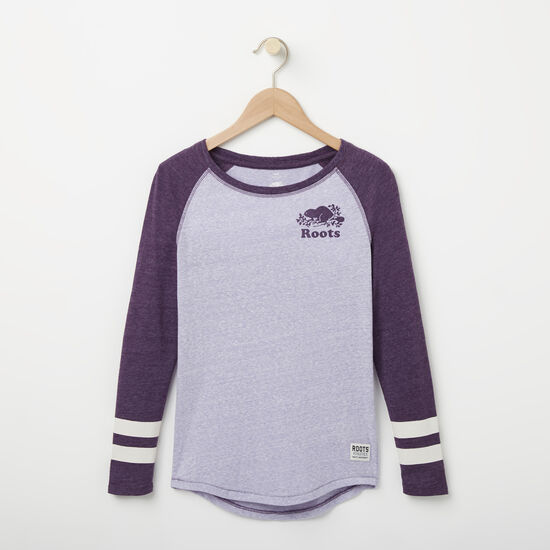 Roots-Kids New Arrivals-Girls Celine Baseball Top-Purple Ash-A