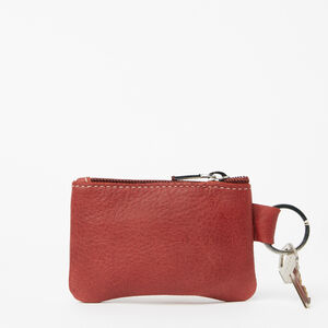 Roots-Men Leather Accessories-Top Zip Key Pouch Tribe-Paprika-A