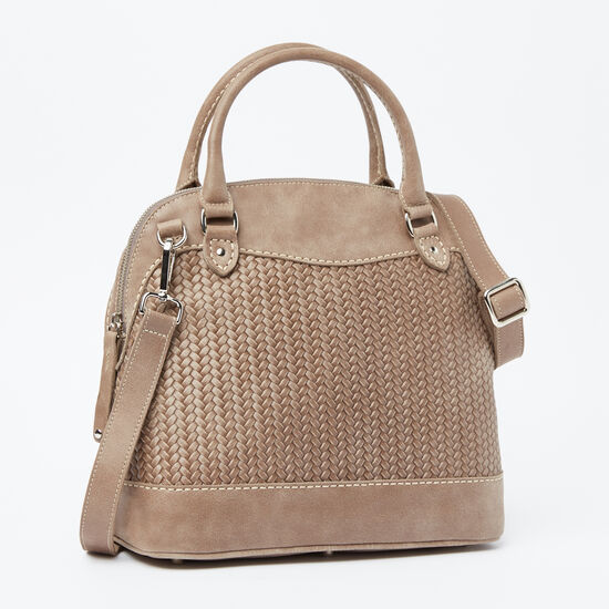 Roots-Leather Tribe Leather Collection-Café Bag Woven-Fawn-A