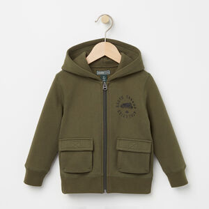 Roots-Kids Tops-Toddler Brandon Full Zip Hoody-Olive Night Green-A