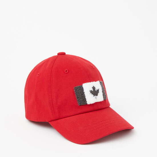Roots-Kids New Arrivals-Toddler Chenille Flag Baseball Cap-Sage Red-A